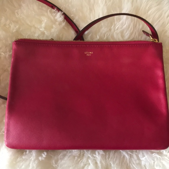 Celine Handbags - Celine trio large fushia dark pink shoulder bag